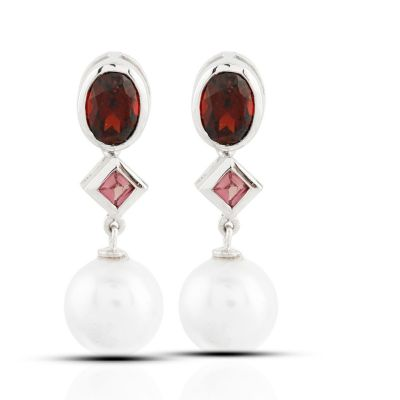 Tourmaline, garnet and pearl dangling earrings GWER86354