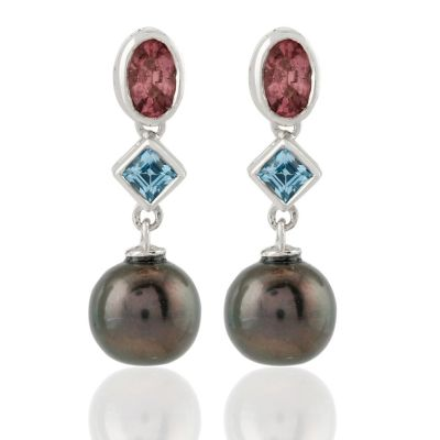 Dangling Pearl, Tourmaline and topaz earrings GWER86362