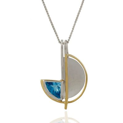 Blue Topaz two toned Sterling silver pendant GWP88585