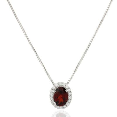 Red garnet and Cubic Zirconia pendant GWP86393