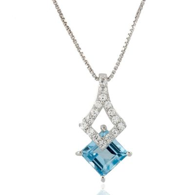 Blue Topaz and Cubic Zirconia Pendant GWP88513