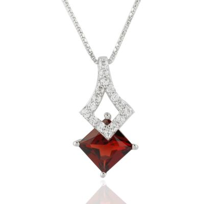 Red garnet and cubic zirconia sterling silver pendant GWP86394