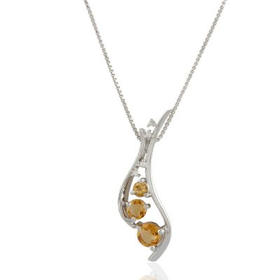 Citrine  and Cubic Ziriconia Sterling silver pendant GWP90458