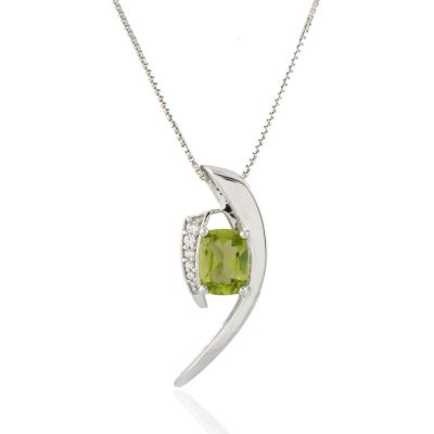 Peridot and Cubic Zirconia Sterling silver pendant GWP86398
