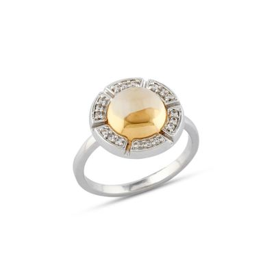 Citrine and cubic ziriconia ring GWR88660