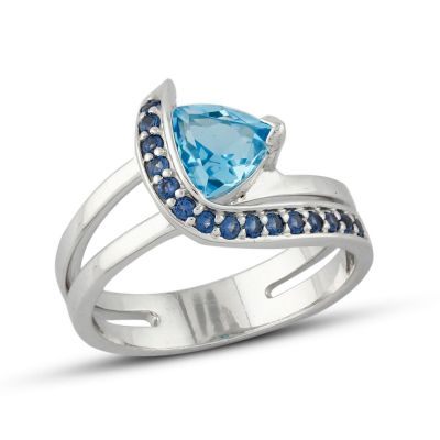 Blue Topaz and Cubic Zirconia ring GWR86375