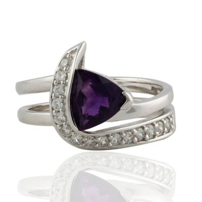 Amethyst and Cubic Zirconia ring GWR86370  (US 6.5-- UK N)
