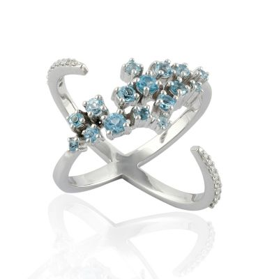 Blue topaz and diamond white gold ring GWDR86377