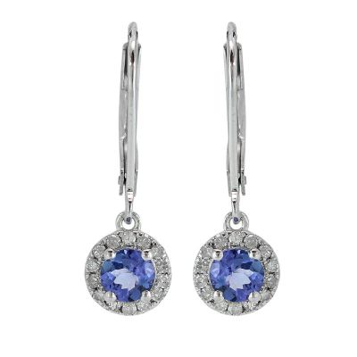 Tanzanite with cubic zirconia dangling lever back earrings GWTZE84059