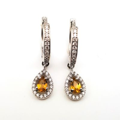 Citrine with white cubic zirconia dangling earrings GWER83170