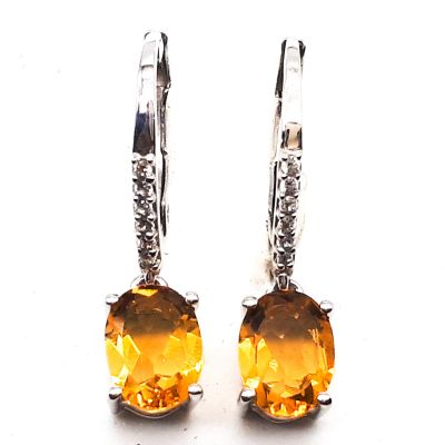 Citrine and cubic Zirconia Dangling earrings GWER83173