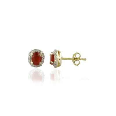 Ruby and White Topaz yellow gold earrings GW86876