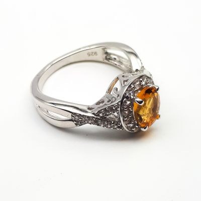 Oval Citrine surrounded with White Cubic Zircon ring GWR83180