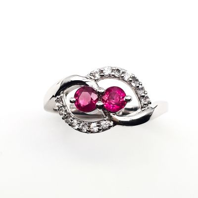 Ruby and White topaz sterling silver ring GWR86367