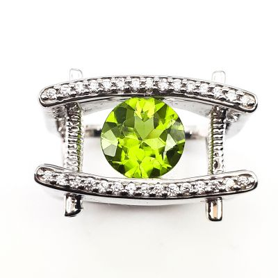 Peridot and Cubic Zirconia ring GWR86383