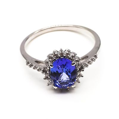 Tanzanite and cubic zirconia ring GWR84073