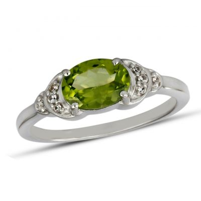 Oval Peridot and White Cubic Zircon GWR83162