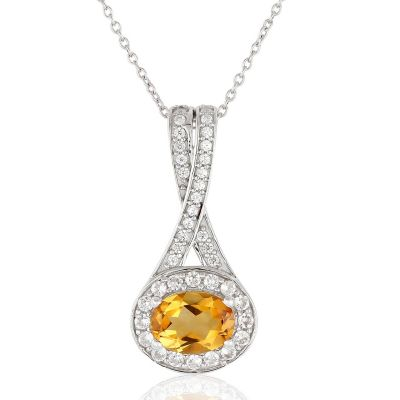 Citrine and cubic zirconia pendant GWP83379