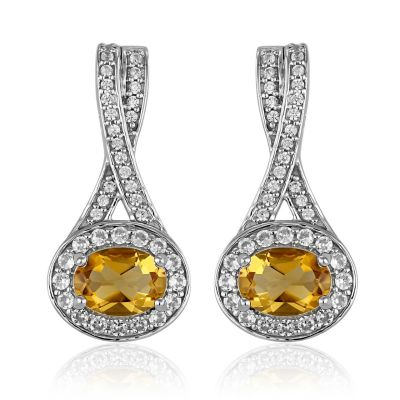 Citrine and white cubic zirconia earrings GWER83430