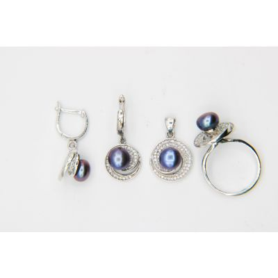 Pearl silver jewelry set GWSET001