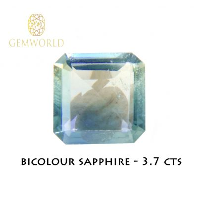 Bicolor Sapphire Blue colorless Asher cut 3.7 ct
