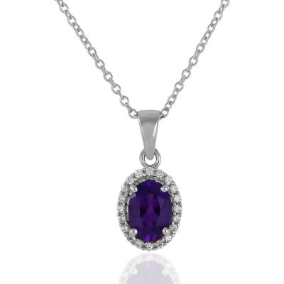 Amethyst and cubic white zirconia pendant GWP84063