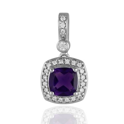 White gold Amethyst and cubic zirconia pendant GWPG84068