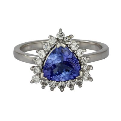 Tanzanite and cubic zirconia ring GWTZR84085