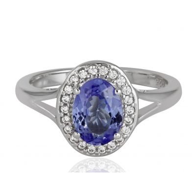 Tanzanite and cubic zirconia ring GWR84076