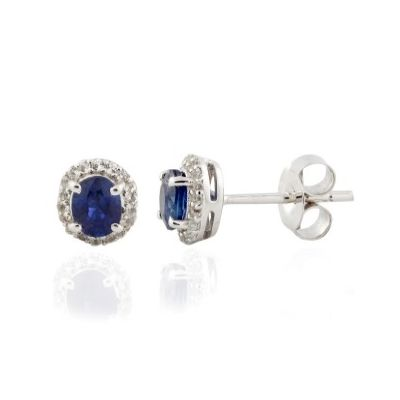 Sterling silver blue sapphire and white topaz earrings GWER86873
