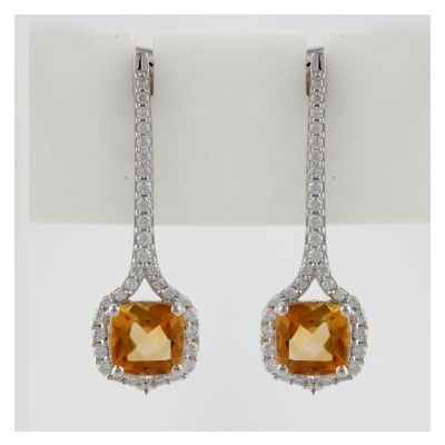 Citrine and Cubic Zirconia dangling earrings GWER86359