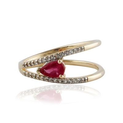Pink Tourmaline and White topaz Gold ring GWR86379
